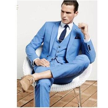 Sky Blue Mens Tuxedos Custom Wedding Suits For Men With Pants Slim Fit Notch Lapel One Button Jacket + Pants + Vest