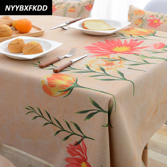 New Pastoral Table Cloth Printed Tablecloth Home Protection Decoration  Elegant Floral Table Cover