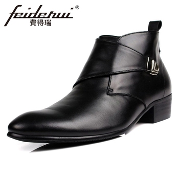 British Designer Genuine Leather Mens  Ankle Boots Pointed Toe Buckle Strap Handmade Cowboy Outdoor Man Riding Shoes YMX33