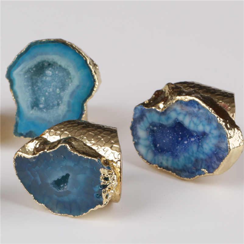 Big ทอง sky ice light dark blue geode คริสตัล slice หินลูกปัด charm ปรับเปิดแหวนค้อนทุบ cuff สำหรับผู้หญิง man