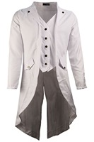 Solid color stylish steampunk retro tuxedo trench coat white for women men