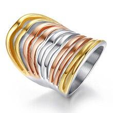 Прямые продажи бросились Anillos Женские уникальные модные ювелирные изделия большое кольцо из нержавеющей стали большой преувеличенный трехцветный коктейльный
