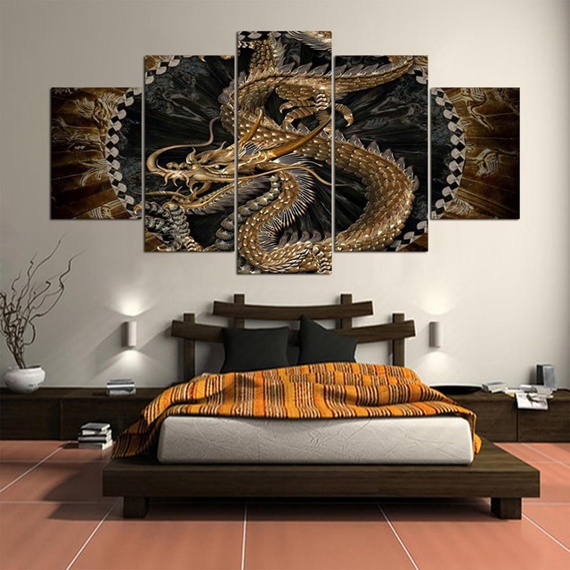 China Yellow Dragon 5 Panels Wall Art Home Decoration Modular Framework Living Room HD Printed Modern Painting On Canvas Posters