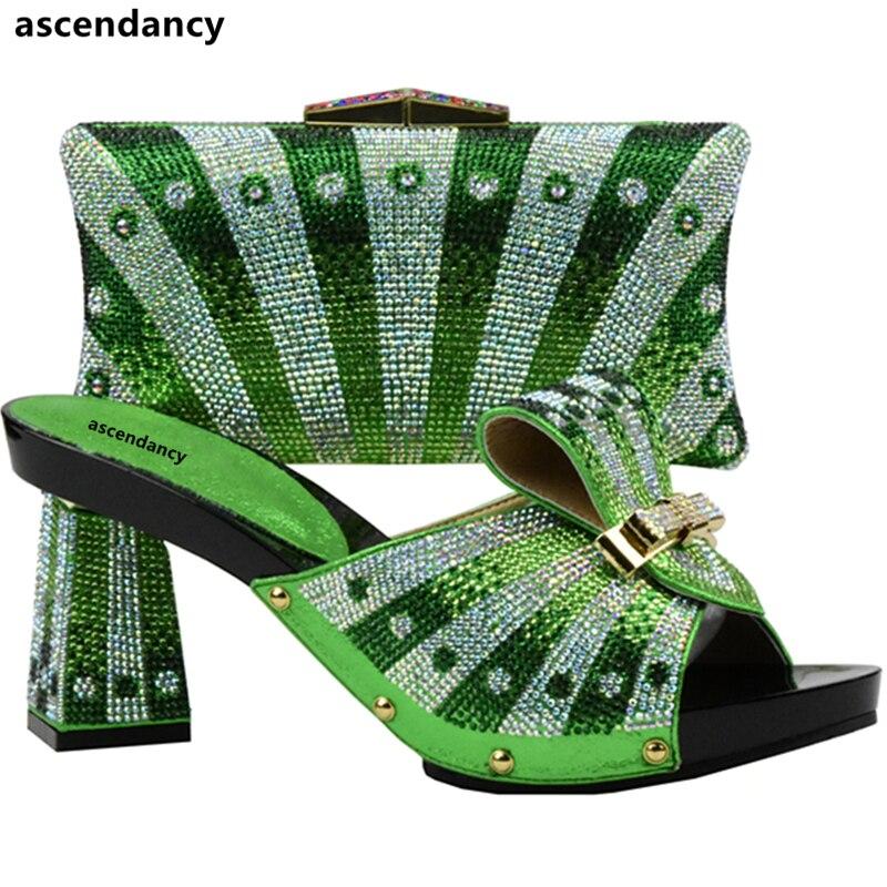 Rhinestone Conjunto Zapato Para verde Italia Bolso oro Verde Negro Y Color Juego Partido Bolsa Decorado Con Zapatos Mujeres Africanos rojo El En Italianos De Fijados azul zqvS0xZ