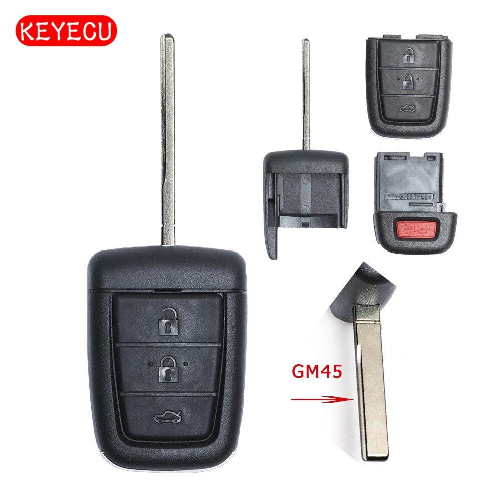 Keyecu удаленный ключевой чехла 3 + 1 кнопка для Pontiac G8/Holden VE COMMODORE Omega Берлина Кале SS SV6 ВПГ GTS GM45 лезвие