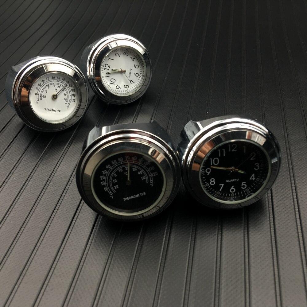 Un7/8 pouces moto guidon montage cadran horloge montre et thermomètre Temp Gauga pour Harley étanche