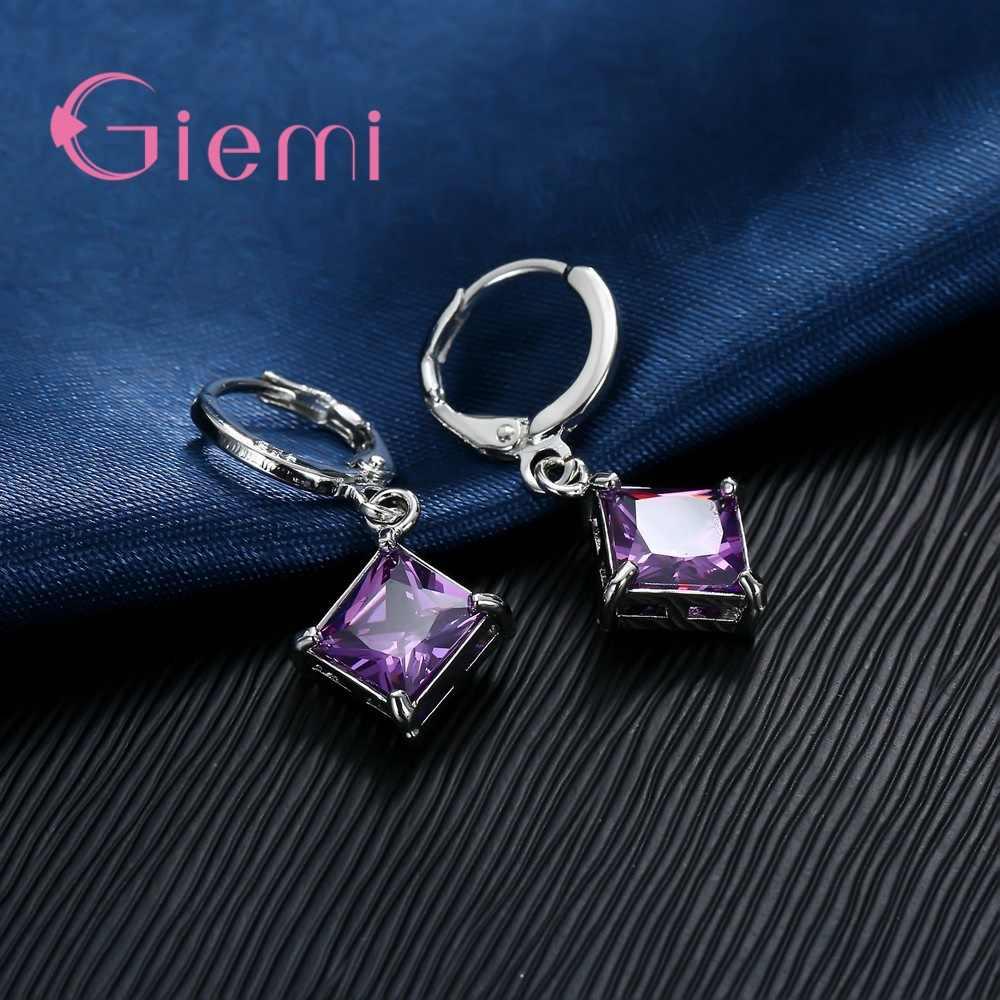 โปรโมชั่นใหญ่ 925 สร้อยคอเงินชุดเครื่องประดับต่างหูสำหรับผู้หญิงหญิง CLASSIC Square CLEAR Zircon Bijoux HOT