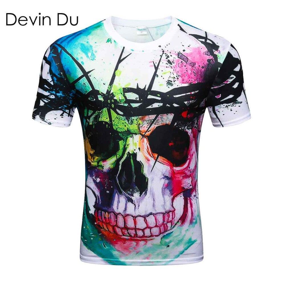 Devin Du new Fashion Brand   T  -  shirt   Hip Hop 3d Print Skulls Harajuku Animation 3d   T     shirt   Summer Cool Tees Tops Brand Clothing