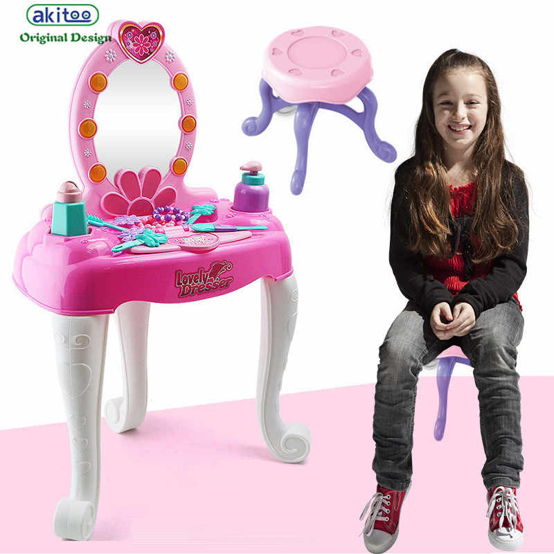 akitoo 3223 Children's simulation make-up lights make-up table dressing tools for girls go home kit educational toys