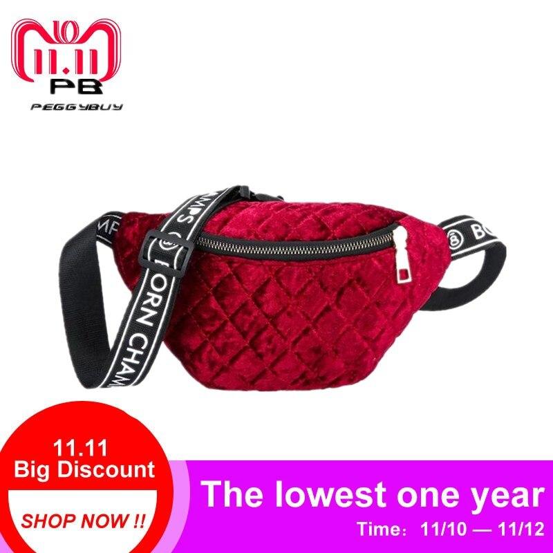 все цены на Women Velvet Plaid Fanny Pack Zipper Shoulder Chest Bag Lady Belly Belt Bag Multifunctional Waist Pack Crossbody Bags Handbags