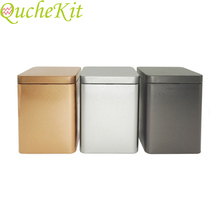 6pcs 8*8*11cm Tea Cans Square Metal Packaging Storage Box Case Small Tin Jars Fo