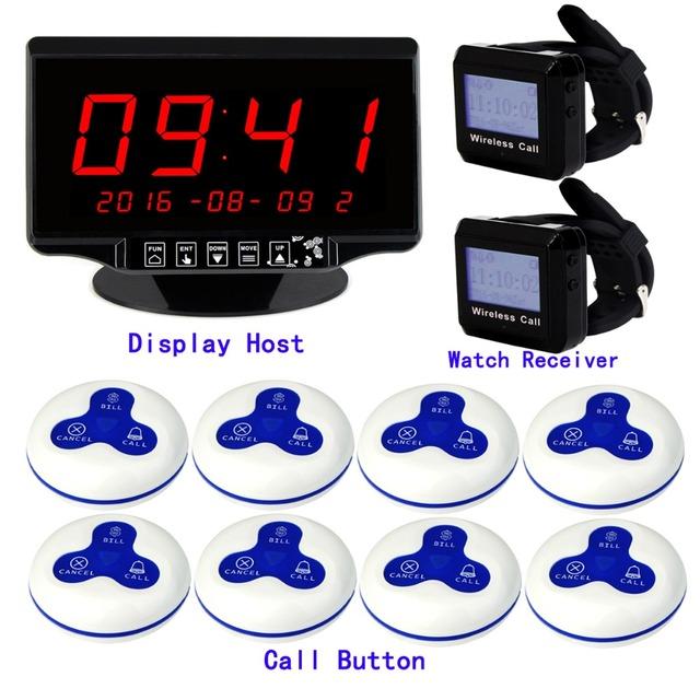 """2.3 """"Voz Relatando Touchable Receiver Anfitrião + 2 Receptor Relógio + 8 Botão de Chamada Sem Fio para o Hotel Sistema de Filas 433 MHz F3260"""
