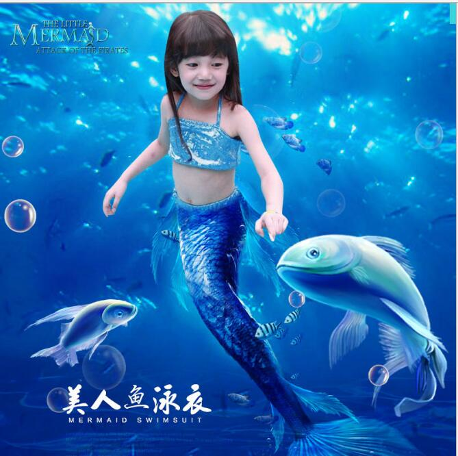 New 2017 Mermaid Tail Costume Dress Kids Girl Sexy Swimmable Mermaid Swimsuit Swimwear Bikini Skirts Children Mermaid Tails For
