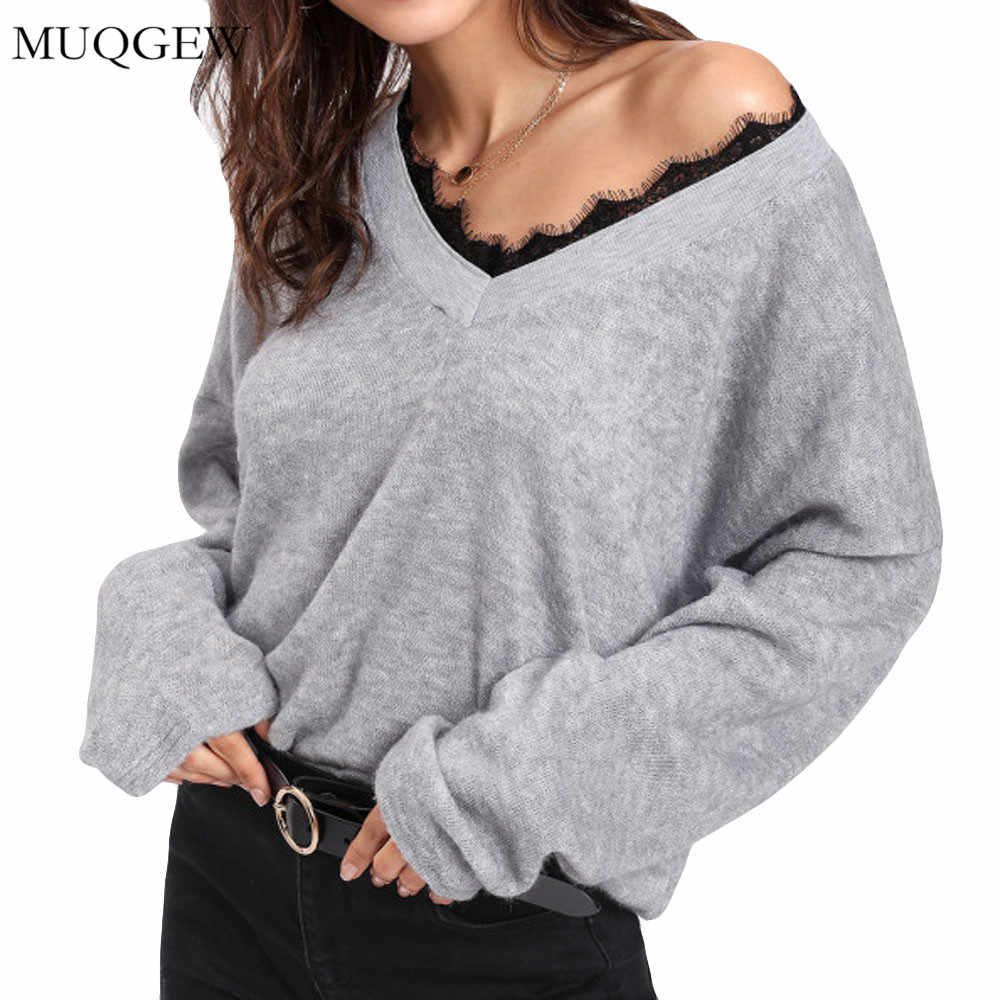 cdf86d062a Fashion Winter Warm Women V-Neck Long Sleeve Lace Solid Knitted Pullover  Loose Sweater Jumper