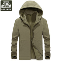 AFS JEEP Brand 2018 Autumn Winter Jacket Men Military Hooded Collar Wool Liner Warm Solid Color