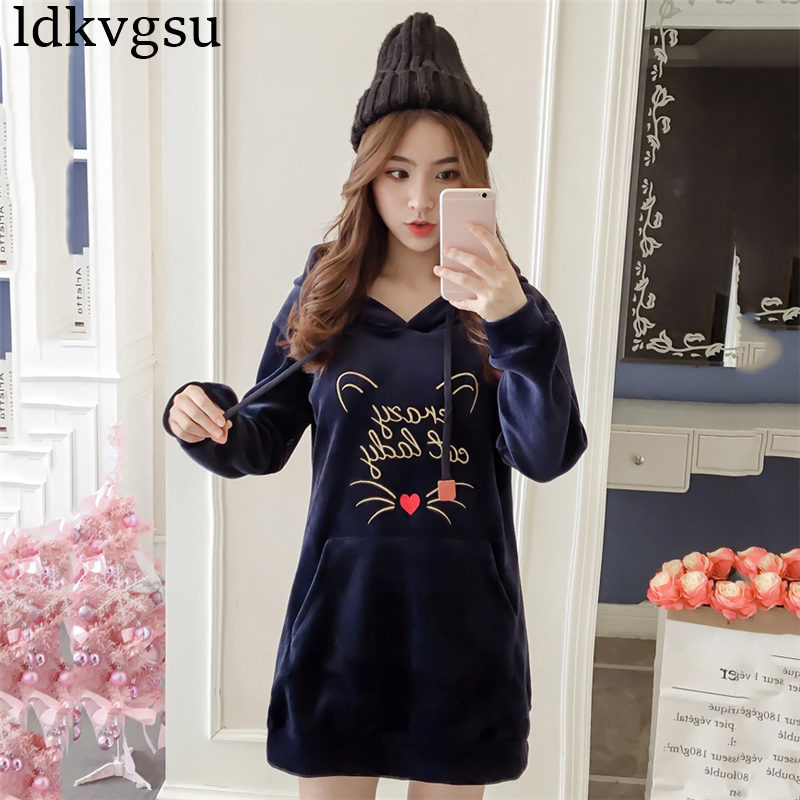 2018 Women Hoodies Long Sweatshirts Fashion Embroidery Dress Female Gold Velvet Hoodie Tops Causal Plus Size Feminino Coat A1147