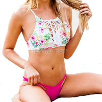 New Print Floral Bohemia Style Women Bikini Set 2017 Mesh Design Flower Cut Out Swimsuit Lady