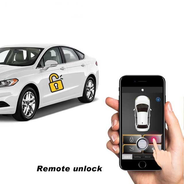 PKE Smart Key Car Alarm System With Remote Central Locking Universal Start Stop Push Button Passive Keyless Entry MP686