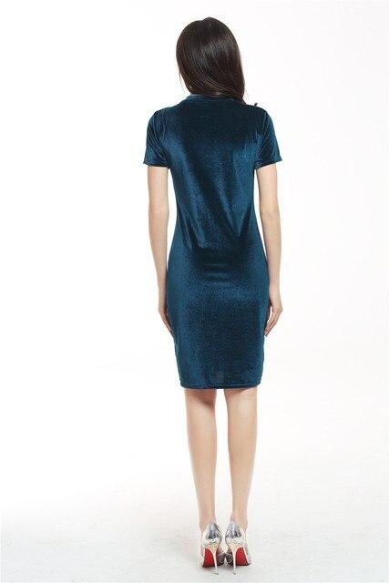 Women Velvet Slim Pencil Dress 5