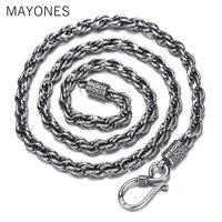 8 мм Width100 % 925 пробы серебряные ожерелья для мужчин мужской в стиле панк тайский серебряный длинная Серебряная цепочка цепочки и ожерелья 55 с