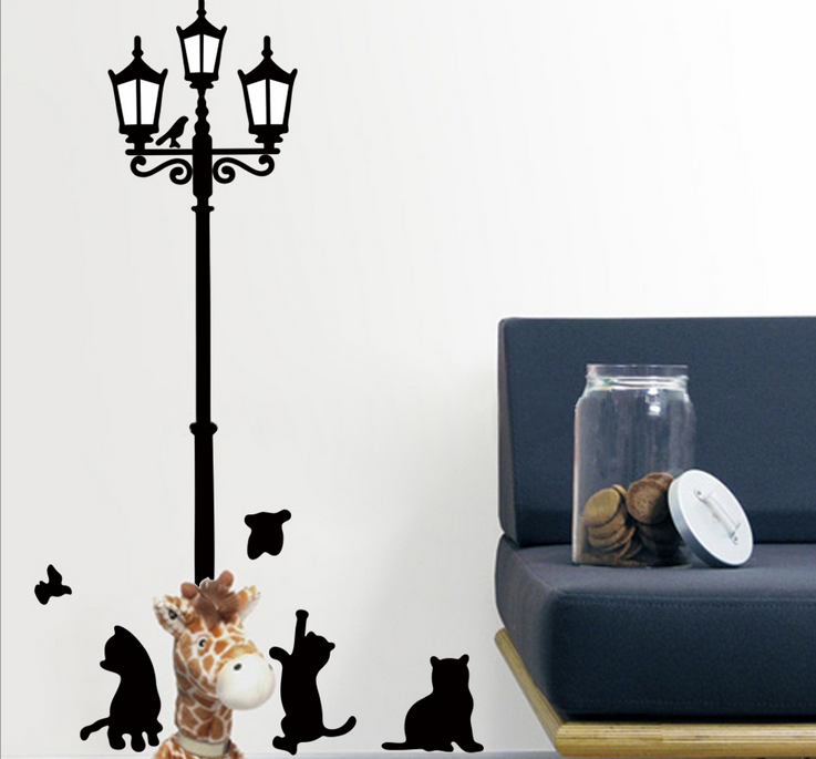 2 Pcs 80 80cm Street Cat Bedroom Decoration Removable Wall Stickers China Mainland Popular Cat