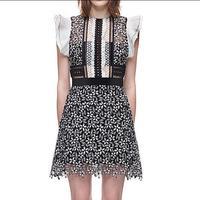 Brand dress Flounced black white women printing stitching flowers Lace Knee length dress