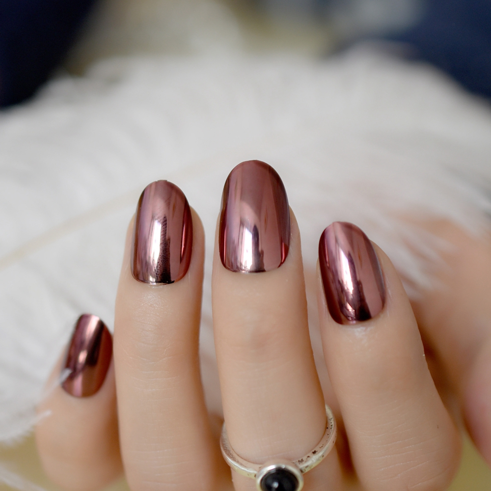24pcs chocolate coffee metallic nail tips round medium mirror not includes any glue you need to prepare glue by yourself solutioingenieria Images