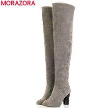 MORAZORAขนาดใหญ่34-45 2016ผู้หญิงบู๊ทส์หนาส้นสูงกว่ารองเท้าสูงเข่ารองเท้าฤดูหนาวฤดูใบไม้ร่วงแฟชั่นขาสูงรองเท้า