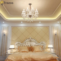 TRAZOS Modern Clear Crystal LED Chandelier Lighting Dining Room Hotel lustres de cristal large Chandelier with White Lampshade