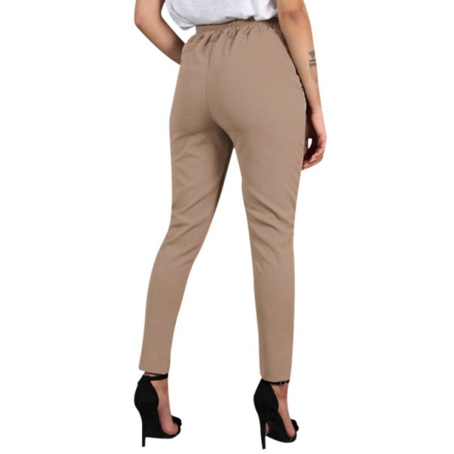 Women Wild Summer Cotton Casual Stretch Sashes Ankle-Length Trousers Elastic Mid Waist Loose Straight Pencil Pants with Belt