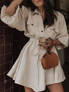 WYHHCJ 2019 Loose Summer Button Cotton Linen Casual Dress