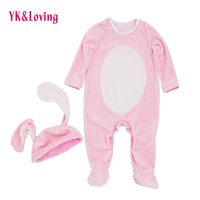 Pink Rabbit Winter Baby Rompers 2018 New Overalls Jumpsuit And Hat Newborn Girl Keep Warm Kids
