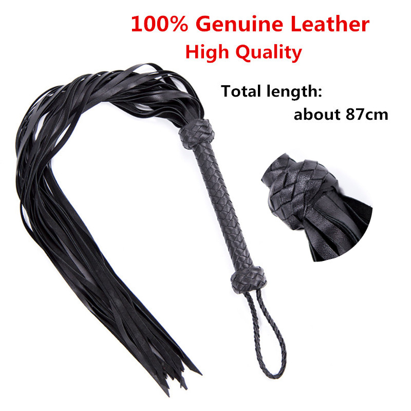 87cm Genuine Leather Flogger Whips Cowhide And Sheepskin Whip Fetish Bondage Lash Tools Spanking Paddle Whip Sex Toys For Couple