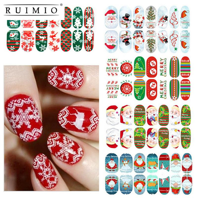 11 Sheets Christmas Nail Art Stickers 3d Design Manicure Tips Decals Wraps Decoration Women S