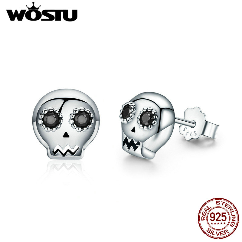 WOSTU 2019 Hot Sale 100% 925 Sterling Silver Halloween Skeleton Skull Stud Earring For Women Girl Jewelry Gift FIE064