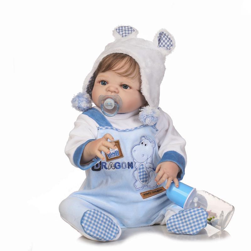 57 CM Reborn poupée fait à la main en Silicone complet Bebe Reborn garçon poupée Boneca en vêtements mignons mâle corps faux bébé poupées enfants cadeau d'anniversaire