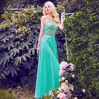 2019 Beautiful Aqua Green Prom Dresses with Beading Chiffon Romantic Evening Party Gowns Women Gala Dress Fast Delivery OL411