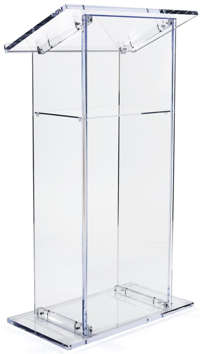 Clear Acrylic Lectern, Presentation Podium With Internal Shelf, 47 Inches Tall Plexiglass