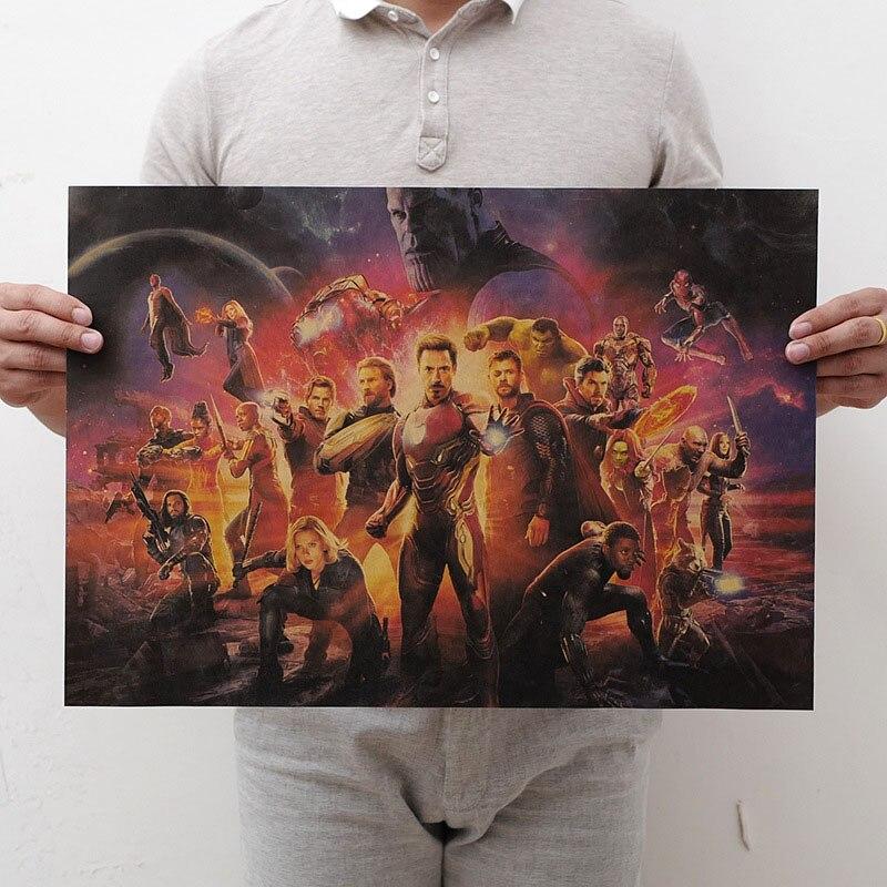 Mling 1 шт., 51,5x36 см, постер из серии Marvel, Мстители, война бесконечности, Ретро плакат, наклейки на стену для гостиной, украшение для дома - Цвет: H09