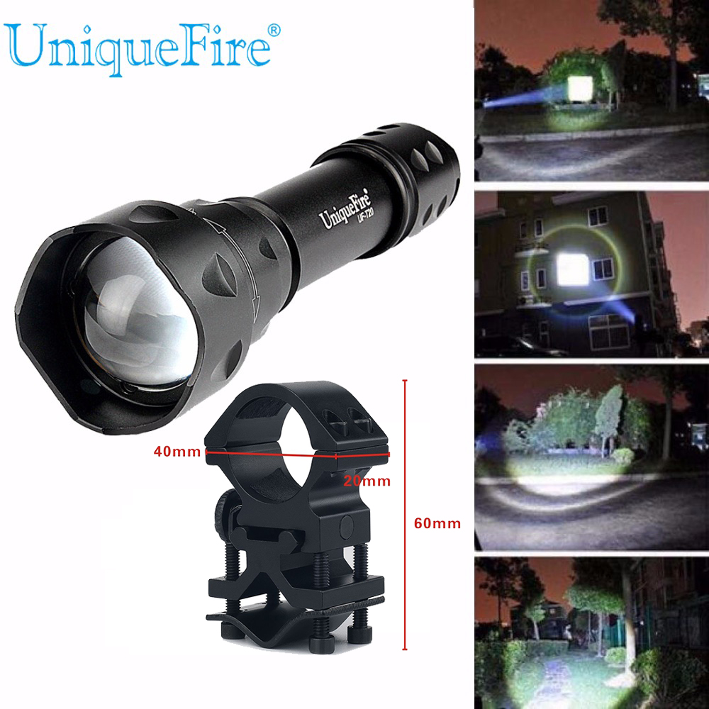 UniqueFire T20 Tactical Torch Cree XML LED Military Flashlight 1200LM Ultra Bright Waterproof Lamp+Scope Mount For Camping 1200lm uniquefire cree xml led flashlight high power led torch mini pocket portable lamp for camping power by 16340 battery