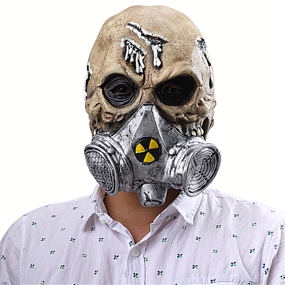 Halloween Carnival Purim Biochemical Gas Mask Skeleton Ghost Zombie Demon Horror Latex Mask Cosplay Accessories
