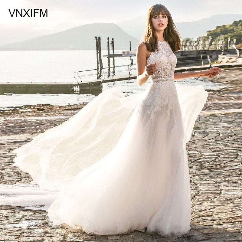 VNXIFM 2019 New A-line Wedding Dresses Bateau Neck Lace Appliqued Sweep Train Bohemian Wedding Dress Backless Plus Size