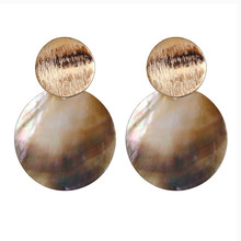 ECODAY Metal Shell Statement Earrings Big Drop Earrings for Women Pendientes Mujer Oorbellen Brincos Boho Jewelry цена