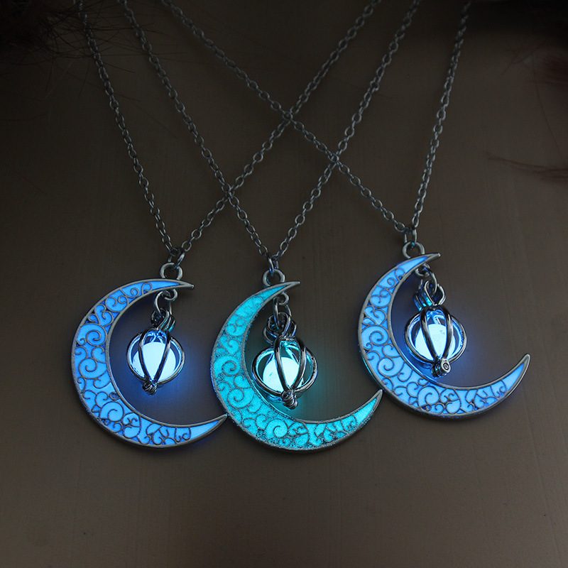 Glow In the dark Necklace Moon Hollow with ball Pendant Necklace Valentines Day Gift for Women