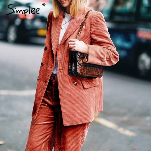 Simplee Casual double breasted women blazer Turndown collar corduroy autumn ladies blazer Christmas office fashion solid coat