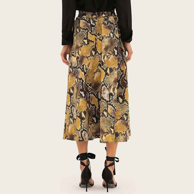 AcFirst Summer Yellow Sexy Women A Line Mid Calf Skirt Clothing Long Skirt Leopard Printed Sweet Sexy Skirts Beath Style in Skirts from Women 39 s Clothing
