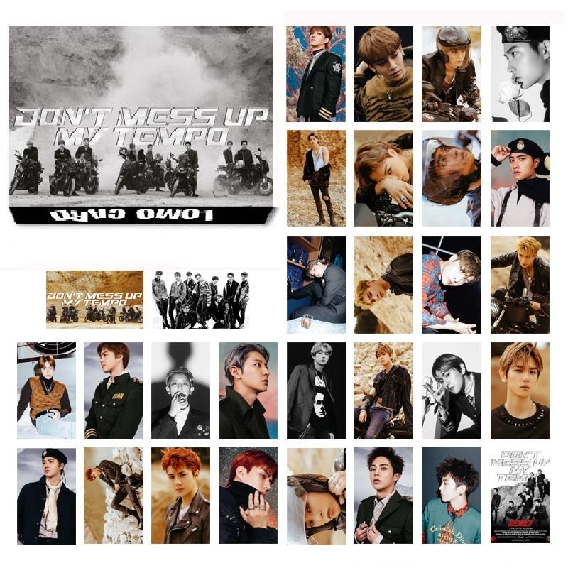 Hot 30Pcs/Set KPOP EXO 01 Album Self Made Paper Lomo Card Photo Card Poster Fans Gift Collection Stationery Set