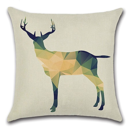 Image 4 - 2pcs Colorful Leaves Deer Red Snowflake Water Colored Gemetric Creative Animal Beautiful Pillow Cover Cushion Cover for Sofa-in Cushion Cover from Home & Garden