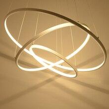Белый кольца круг светодиодный Люстра современный светодиодный люстры для гостиной столовой Кухня Ресторан Lampara де techo