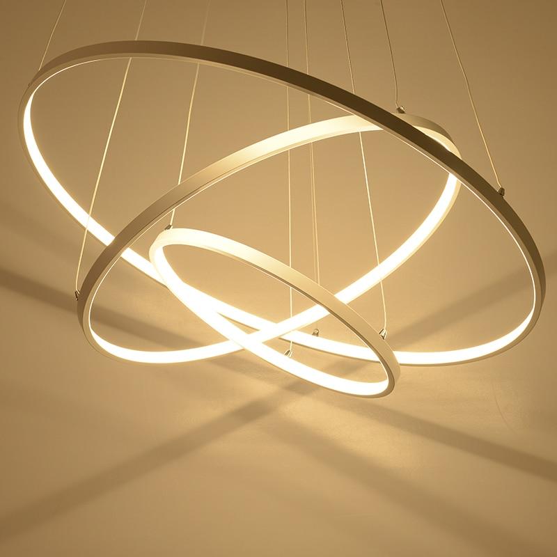 White Rings Circle Led Chandelier Modern LED Chandelier Lighting For Living room Dining room Kitchen Restaurant Lampara de techo